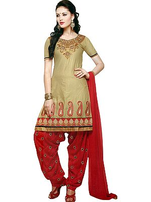 Parsnip and Red Patiala Salwar Kameez Suit with Embroidered Florals and Paisleys