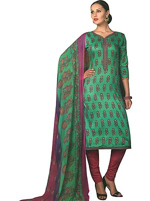 Pool-Green Printed Trouser Salwar Kameez Suit with Embroidery on Neck and Chiffon Dupatta