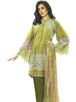Palm-Green Short Salwar Kameez Suit with Printed Florals