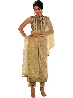 Marzipan Jacket Style Salwar Kameez Suit with Ari-Embroidered Florals and Crystals