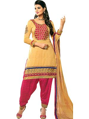 Beige and Beetroot-Purple Salwar Kameez Suit with Embroidered Florals and Crystals