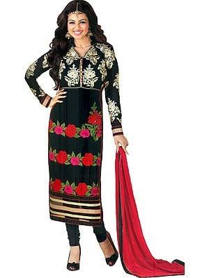 Caviar-Black Ayesha Long Choodidaar Salwar Kameez Suit with Ari Embroidery and Embellished Crystals