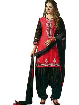 Paradise-Pink and Black Patiala Salwar Kameez Suit with Embroidered Florals and Bootis