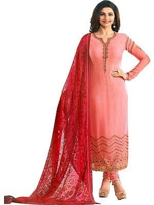 Peach-Amber Prachi Long Choodidaar Salwar Kameez Suit with Zari-Embroidery and Crystals