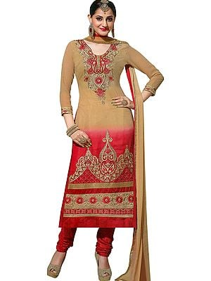 Candied-Ginger Long Choodidaar Salwar Kameez Suit with Ari Embroidery and Embellished with Crystals