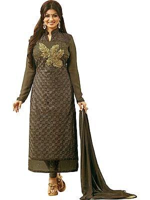 Walnut Ayesha Long Choodidaar Salwar Kameez Suit with Ari Embroidery and Embellished with Crystals