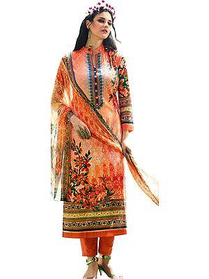 Autumn-Sunset Digital-Printed Trouser Salwar Kameez Suit with Ari-Embroidered Bootis and Chiffon Dupatta