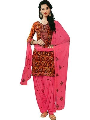 Apple-Butter and Pink Printed Patiala Salwar Kameez Suit with Embroidered Florals and Bootis