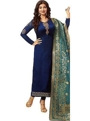 Lyons-Blue Ayesha Long Choodidaar Salwar Kameez Suit with Zari-Embroidery and Green Woven Dupatta
