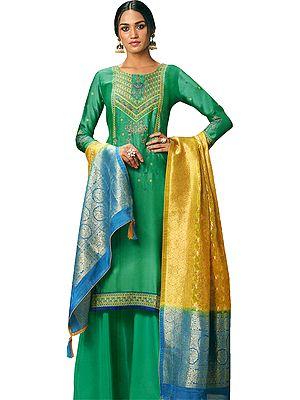 Sea-Green Pakistani Salwar-Kameez Suit with Floral Zari Embroidery and Silk Dupatta