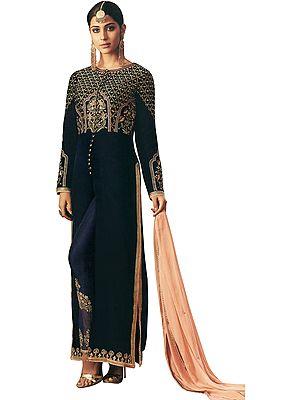 Medieval-Blue Designer Long Salwar Kameez Suit with Zari-Embroidery and Crystals