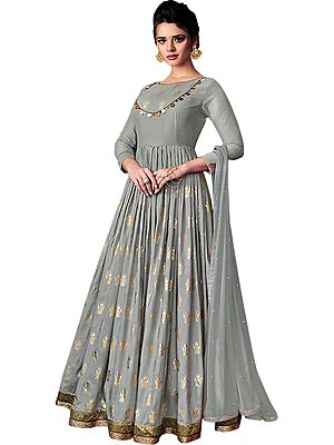 Storm-Gray Designer Floor-Length Anarkali Suit with Printed Golden Bootis and Zari Embroidered Border