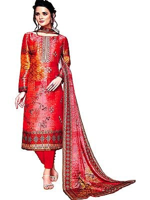 Rococco-Red Digital-Printed Trouser Salwar Kameez Suit with Embroidered Bootis and Chiffon Dupatta