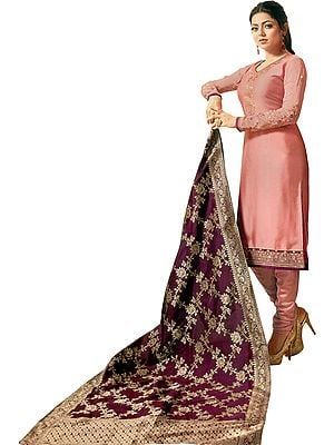 Brandied-Apricot Drashti Choodidaar Salwar Kameez Suit with Zari-Embroidered Florals and Crystals