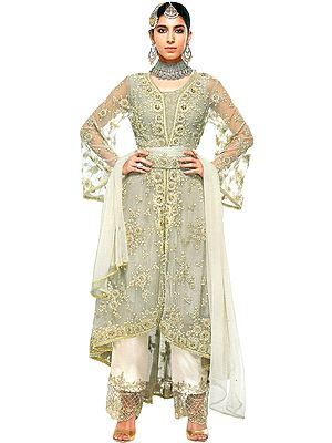 Silver-Cloud Zari-Embroidered Designer Salwar Kameez Suit with Embellished Pearls and Crystals All-over