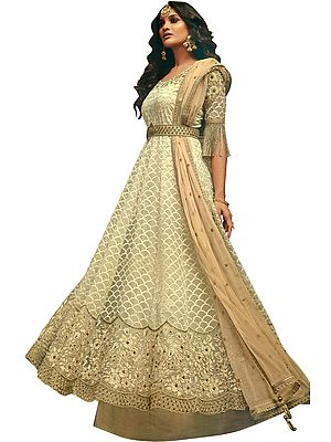 Afterglow Designer Floor-Length Anarkali Suit with Floral Zari Embroidery and Beads All-Over