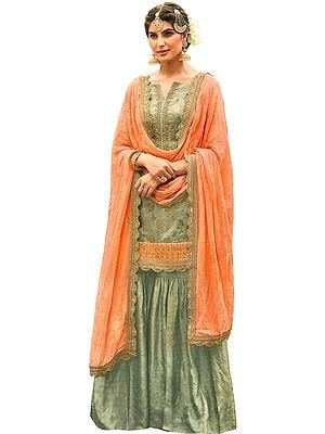 Storm-Gray Pakistani Sharara-Kameez Suit with Zari Embroidery and Woven Motifs All-Over