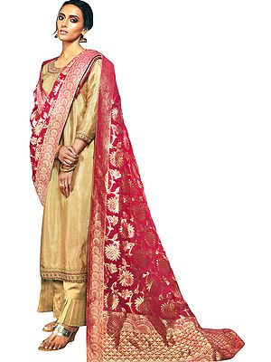 Almond-Buff Flared-Palazzo Salwar Kameez Suit with Zari-Embroidery and Woven Maroon Dupatta