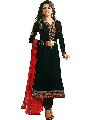 Jet-Black Drashti Long Choodidaar Salwar Kameez Suit with Zari-Embroiderey and Black Bootis Woven All-Over