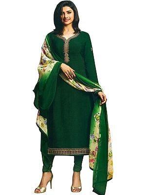 Bayberry Prachi Plain Choodidaar Salwar Kameez Suit with Zari-Embroidery and Printed Dupatta