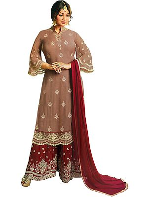 Burlwood and Maroon  Ayesha Pakistani Salwar Kameez Suit with Zari Embroidered Florals  and Crystals