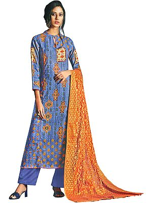 Riveria Long Palazzo Salwar Suit with Printed Multicolor Motifs and Woven Orange Dupatta