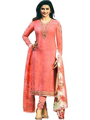 Pink-Icing Prachi Digital-Printed Choodidaar Salwar Kameez Suit with Zari-Embroidery and Crystals