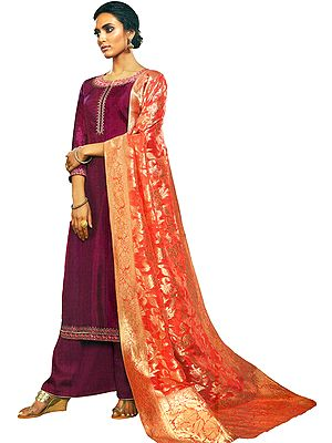 Lilac-Rose Palazzo Salwar Kameez Suit with Floral Embroidery and Zari Woven Orange Dupatta