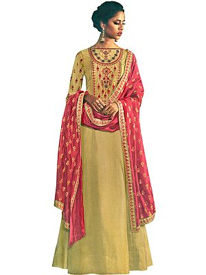 Prairie-Sand Floor-Length A-Line Suit with Floral Ari Embroidery and Printed Pink Dupatta