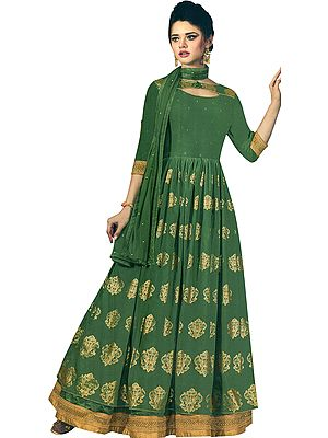 Vineyard-Green Designer Floor-Length A-Line Suit with Printed Golden Bootis and Zari Embroidered Border