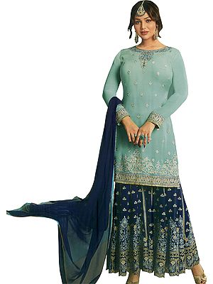 Icy-Morn Ayesha Pakistani Sharara Kameez Suit with Zari Embroidered Florals  and Crystals