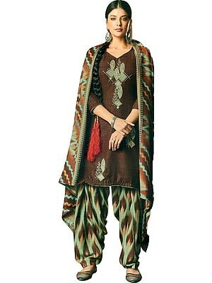 Deep-Mahogany Patiala Salwar Kameez Suit with Embroidered Bootis and Printed Dupatta