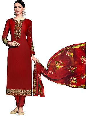 Bittersweet-Red Long Choodidaar Salwar Kameez Suit with Floral Embroidery and Printed Chiffon Dupatta