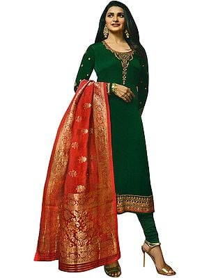 Alpine-Green Prachi Long Choodidaar Salwar Kameez Suit with Zari-Embroidery and Crystals