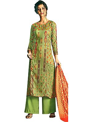 Lily-Green Long Palazzo Warm Salwar Suit with Printed Multicolor Motifs and Crystals