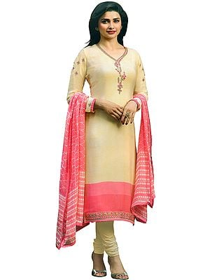 Afterglow and Pink Prachi Choodidaar Salwar Kameez Suit with Zari-Embroidery and Crystals