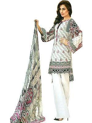 Lily-White Digital-Printed Palazzo Salwar Kameez Suit with Chiffon Dupatta