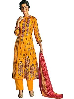 Artisan's-Gold Long Palazzo Salwar Suit with Printed Multicolor Motifs and Crystals