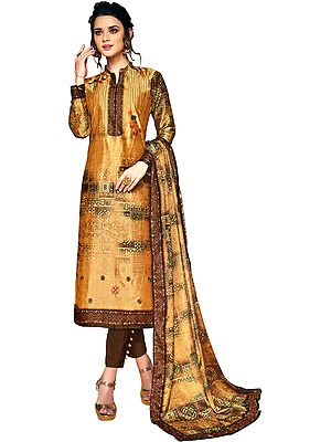 Honey-Yellow Digital-Printed Trouser Salwar Suit with Ari-Embroidery
