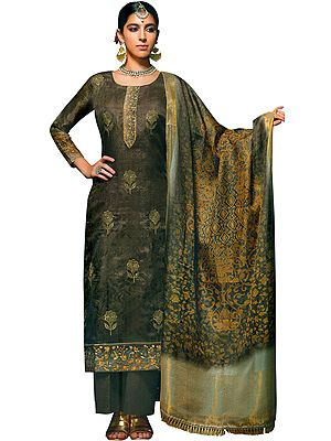 Pine-Bark Long Parallel Salwar Kameez Suit with Zari-Embroidery