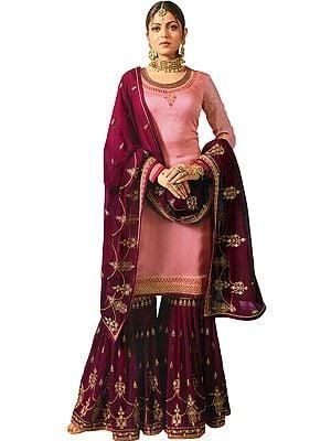 Mellow-Rose Drashti Zari-Embroidered Sharara Kameez Suit With Embellished Crystals