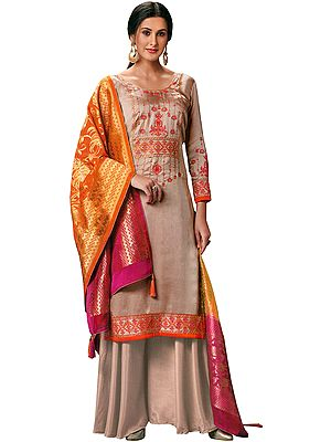 Mahogany-Rose Flared-Palazzo Suit with Floral Embroidery and Brocaded Dupatta