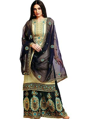 Agate-Gray Palazzo Salwar Kameez Suit with Heavy Embroidery and Blue Net Dupatta