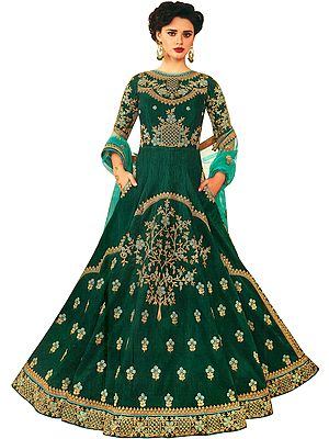 Bay-Berry Green Floor-length Anarkali Suit with Zari-Embroidery All-Over and Net Dupatta