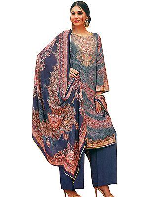 Marlin-Blue Palazzo Salwar Kameez Lawn Suit with Mughal Print