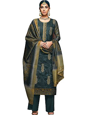 Urban Chic Long Parallel Salwar Kameez Suit with Zari-Embroidery