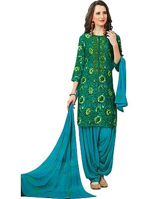 Hawaiian-Ocean Floral Printed Patiala Salwar Suit with Embroidery on Neck and Chiffon Dupatta