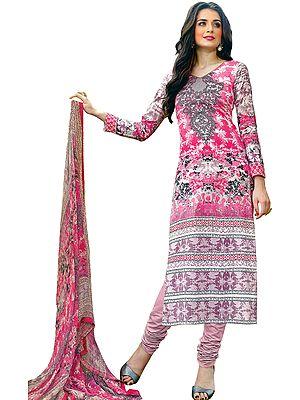 Ibis-Rose Printed Choodidaar Salwar Suit with Chiffon Dupatta