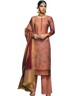 Dusky-Pink Long Palazzo Salwar Kameez Suit with Zari-Embroidery