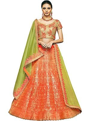Orange Brocaded Lehenga with Embroidered Choli and Pearls Embellished Dupatta
